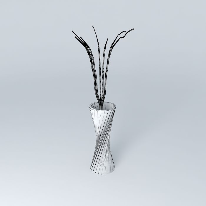 3d Crystal Vase With Twigs Cgtrader