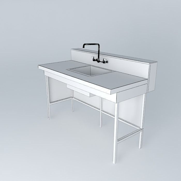 Bench sink free 3d model max obj 3ds fbx stl skp for Sketchup bathroom sink