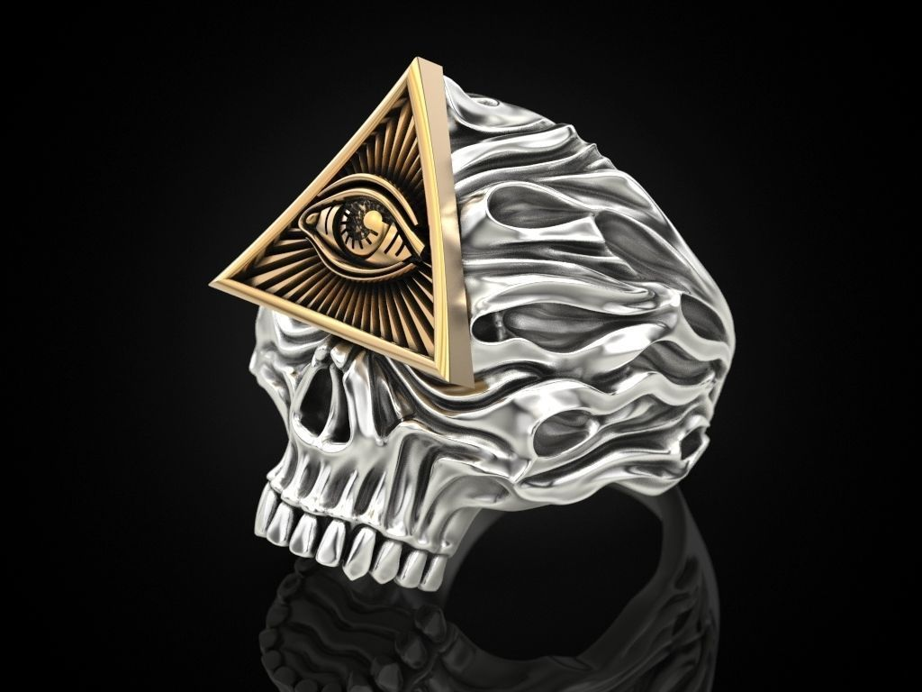 All seeing eye skull ring