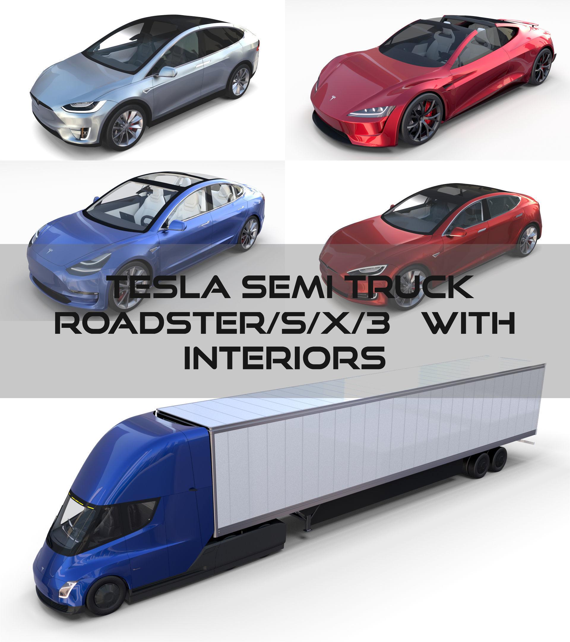 Tesla Pack Semi Roadster Model S X 3 With Interiors 3d Model