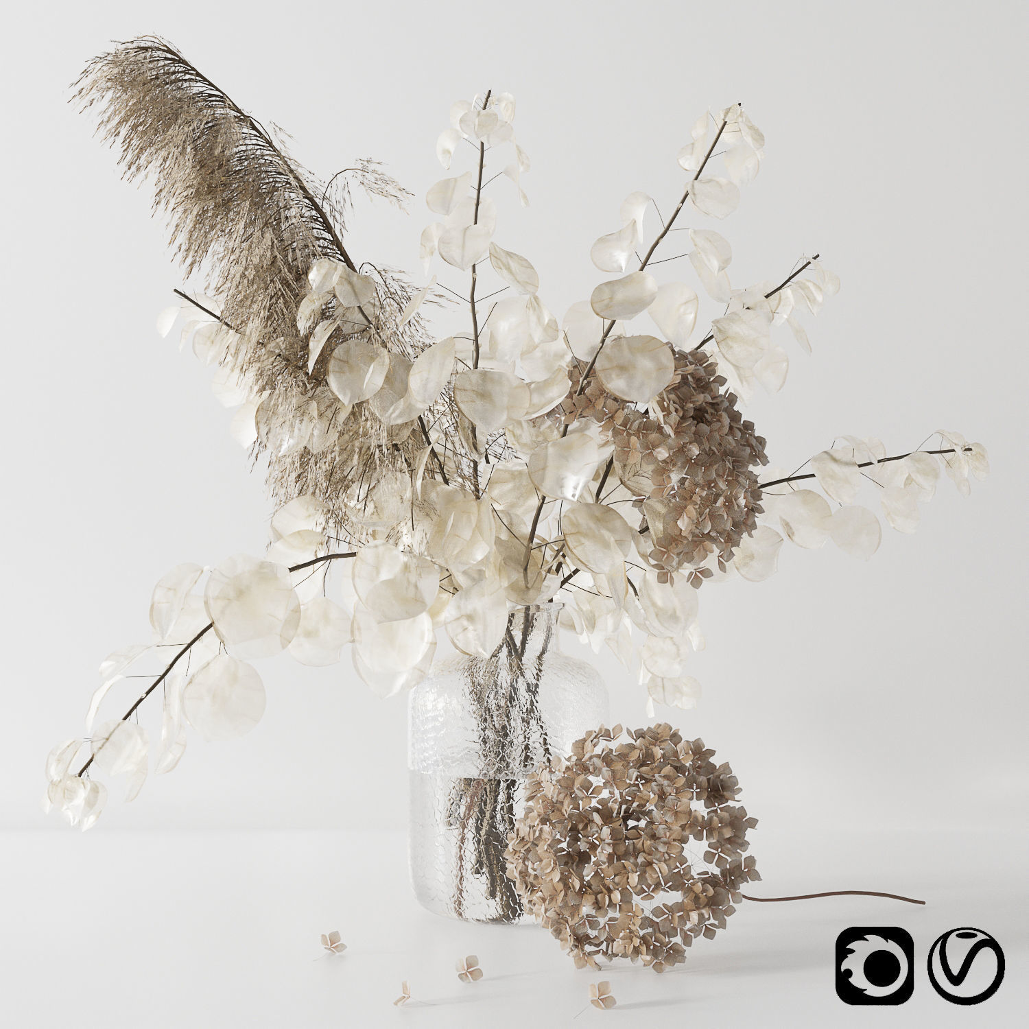 Bouquet with lunaria pampas grass and hydragea