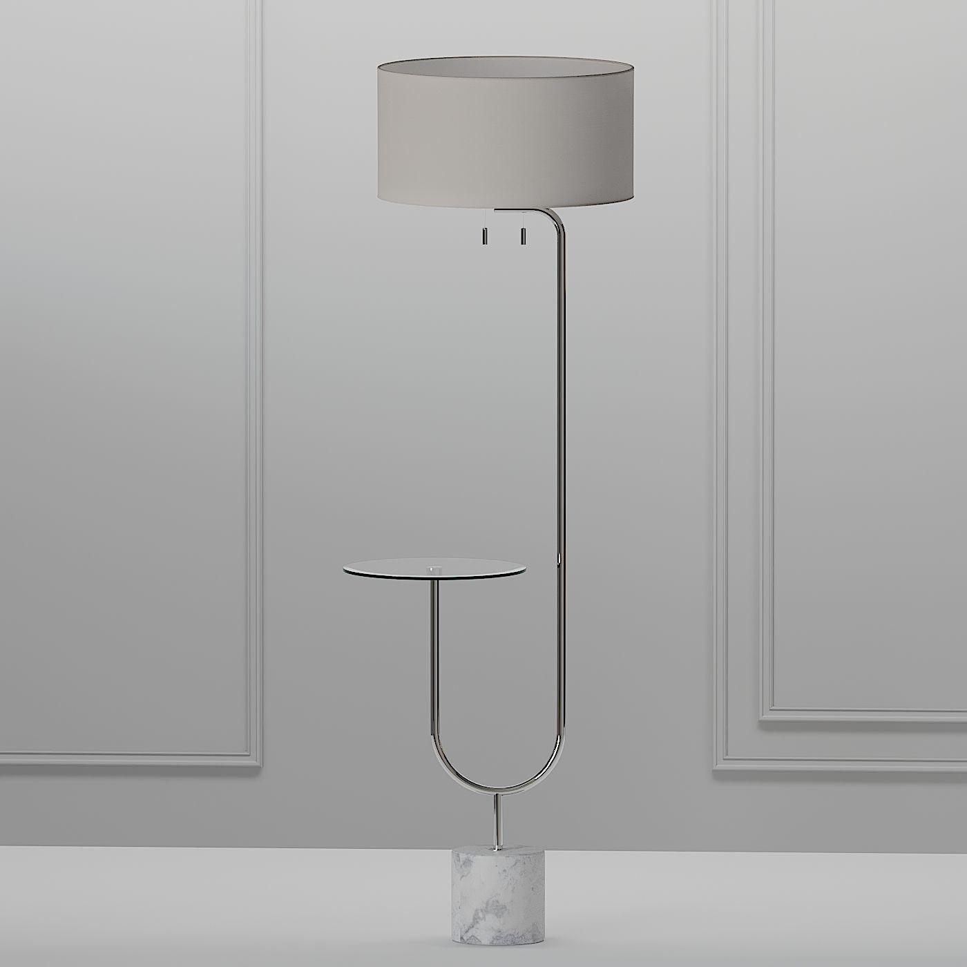 Image of: 3d Model Adesso Sloan Nickel Floor Lamp Cgtrader