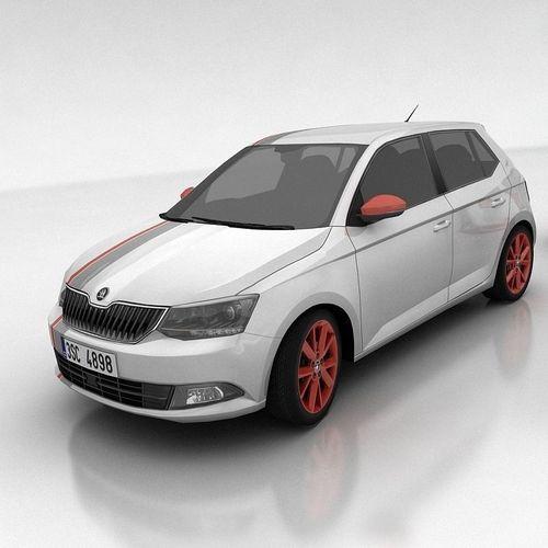 skoda fabia 3 hatchback a 3d model low-poly max obj fbx mtl 1