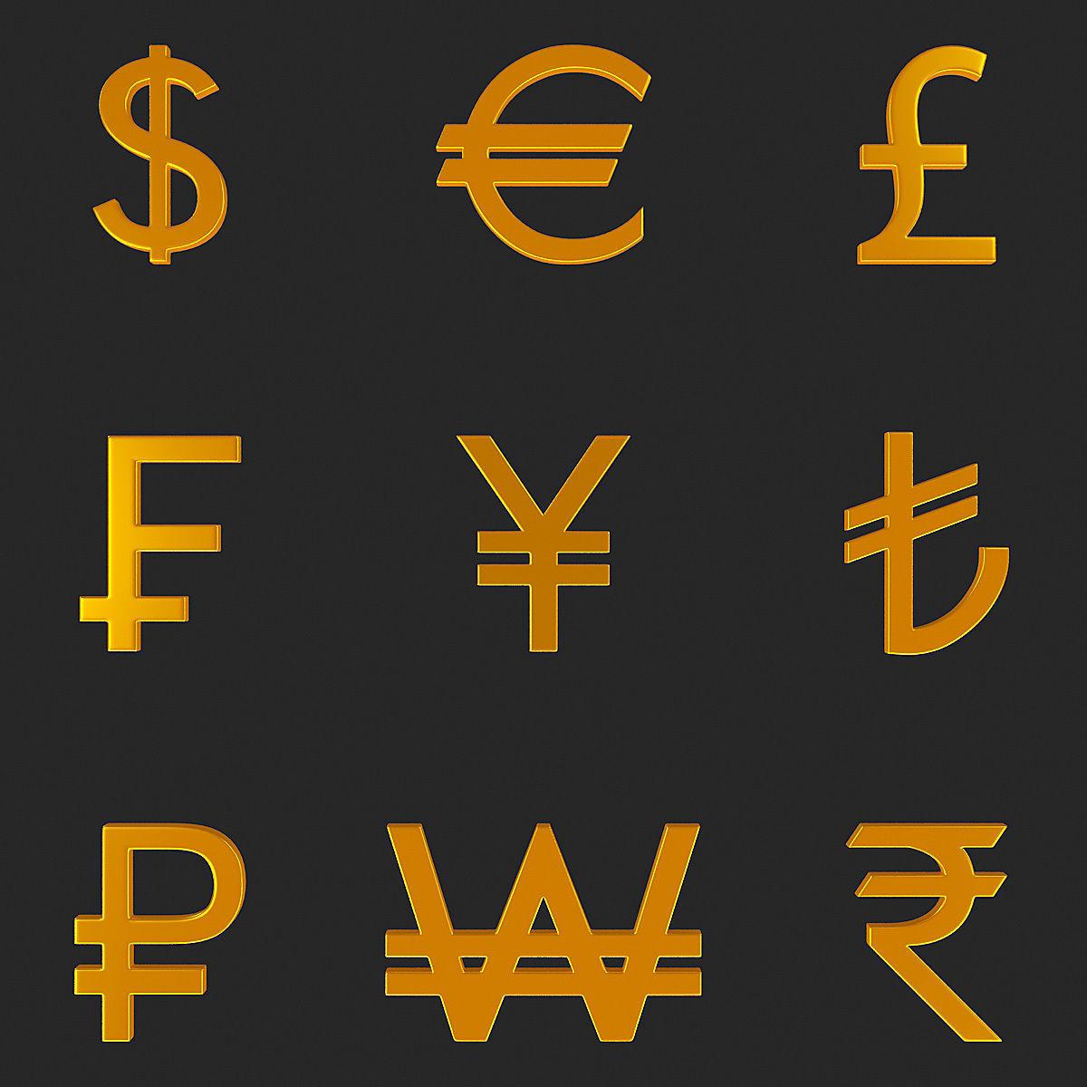 Currency Symbol 3D Model Set