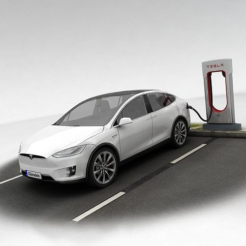 tesla x plus supercharger 3d model low-poly max obj fbx mtl tga 1