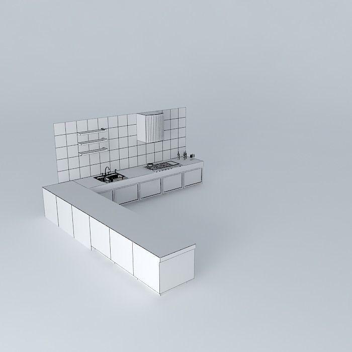 L Shape Kitchen Free 3D Model MAX OBJ 3DS FBX STL SKP