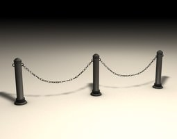 stanchions and chain barrier 3d model