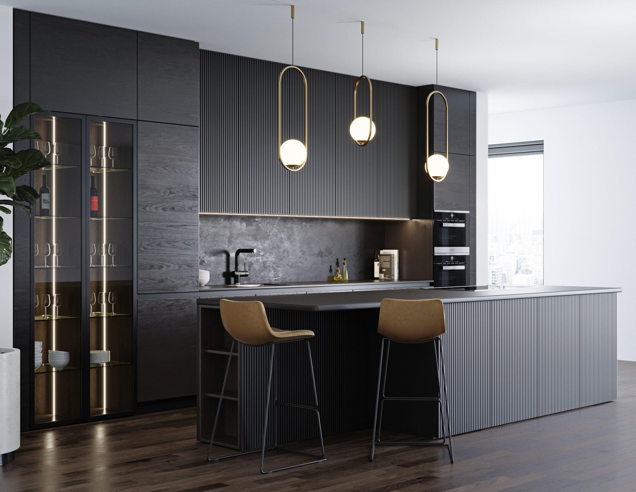 Black modern kitchen 3D | CGTrader on Modern Model Kitchen  id=37568