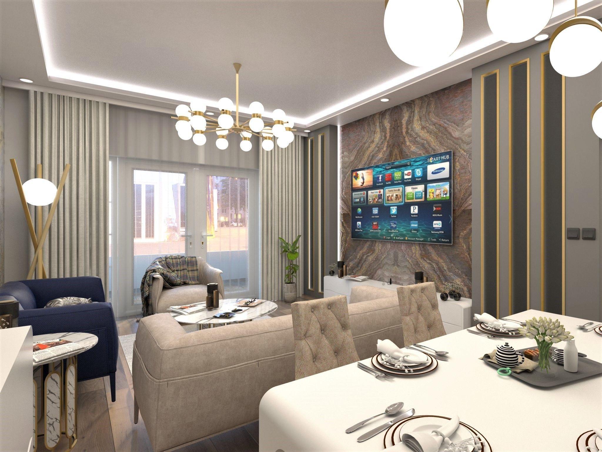 living room design 3D model low poly   CGTrader