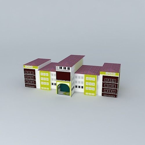 abdullah tayyar high school 3d model max obj 3ds fbx stl skp 1