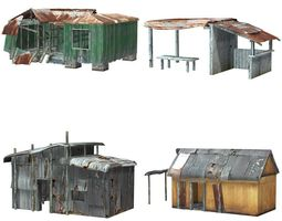 shanty town buildings and accessories 3d asset low-poly rigged