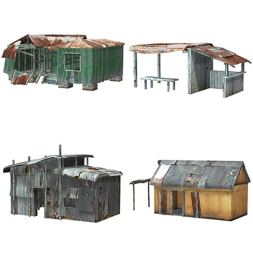 shanty town buildings and accessories 3d model low-poly obj mtl pz3 pp2 1