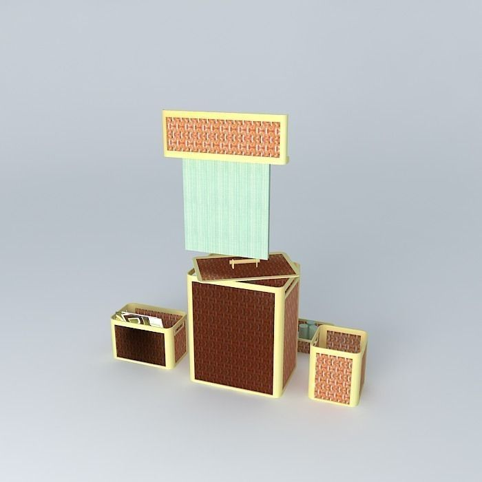 bamboo bathroom accessories 1 free 3d model max obj 3ds