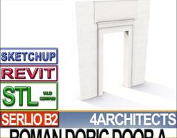 Ancient Roman Doric Door A Revit STL Printable 3D Model
