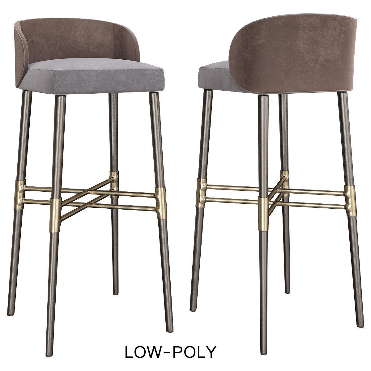 Terrific Bar Stool Minotti Low Poly 3D Model 3D Model Machost Co Dining Chair Design Ideas Machostcouk