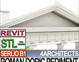 Roman Doric Pediment Serlio Block B1 3D Model