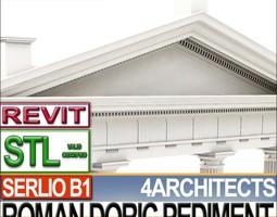 Roman Doric Pediment Serlio Block B1 3D Model