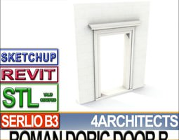 Ancient Roman Door B Revit STL Printable 3D Model