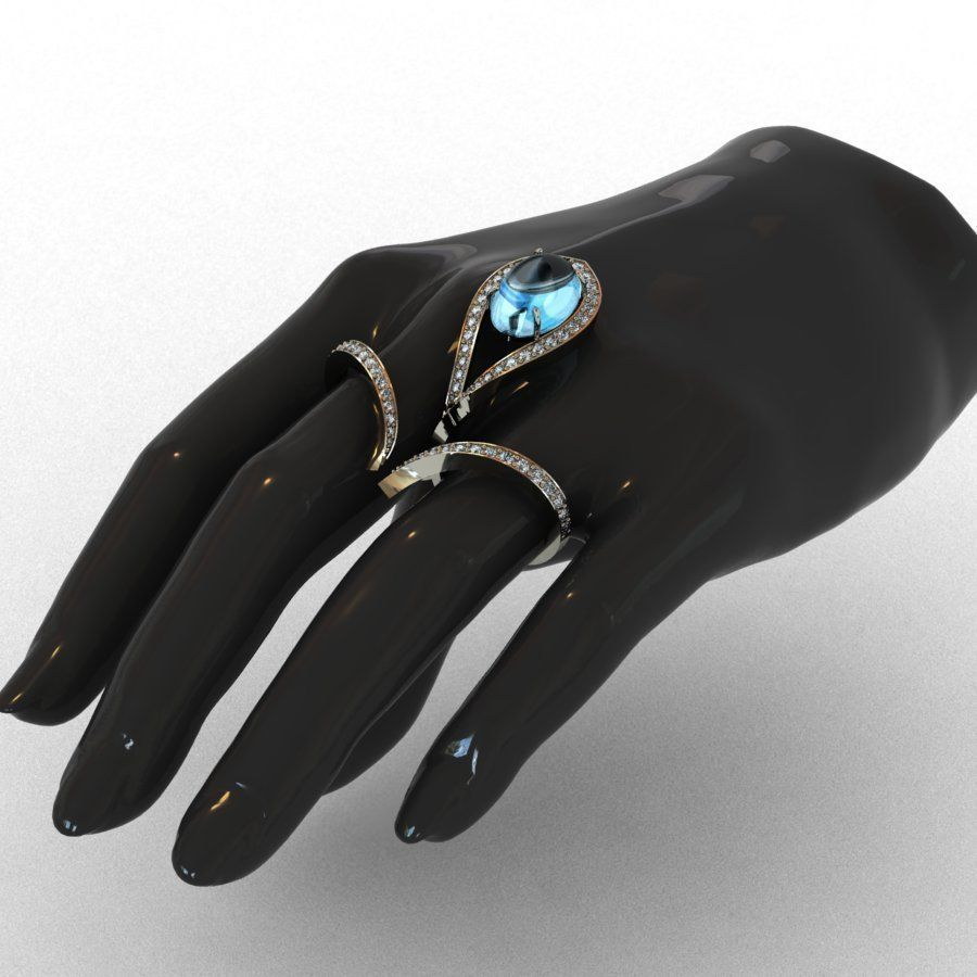 Diamond and Topaz Duble Ring 3D print model