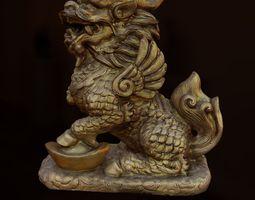 3d model realtime liondragon statue