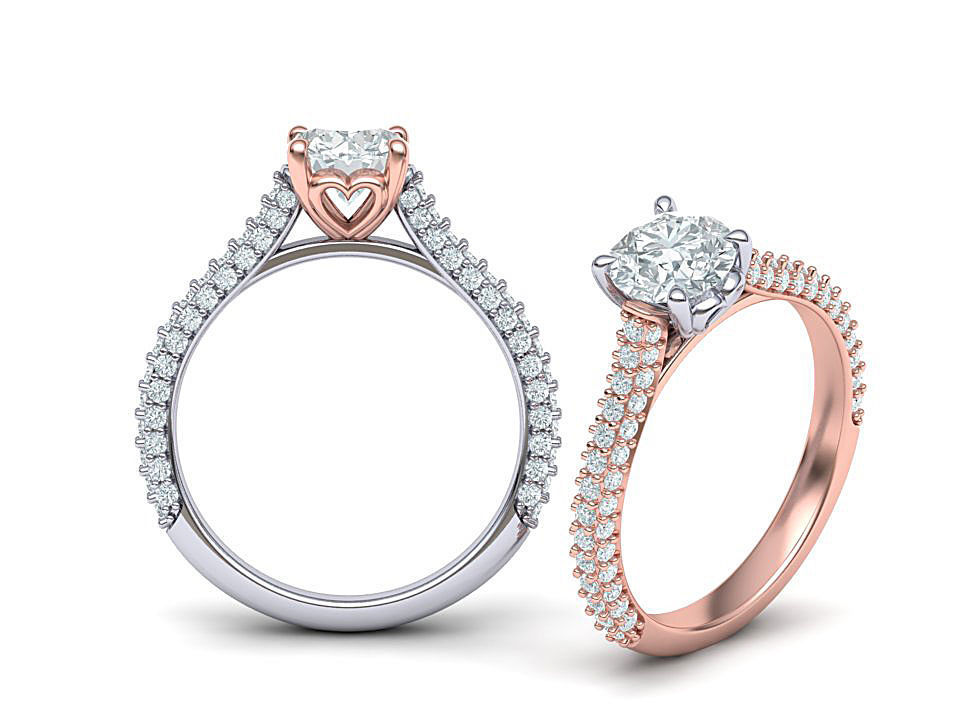 1ct Diamond Engagement ring 3dmodel 4prong setting