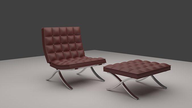 harm chair chesterfield 3d model obj mtl 1