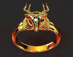 deer head ring 3d print model