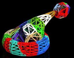 multicolor voronoi santa hat 3d print model