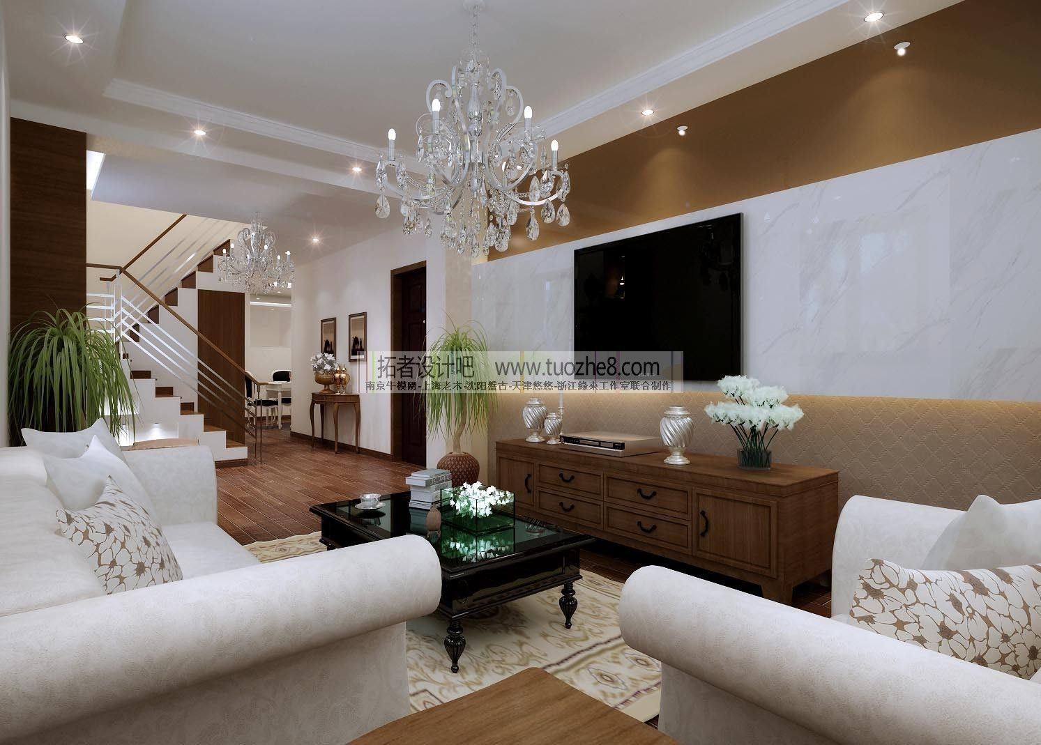 Stylish interior design living room restau 3d model for Model interior design living room