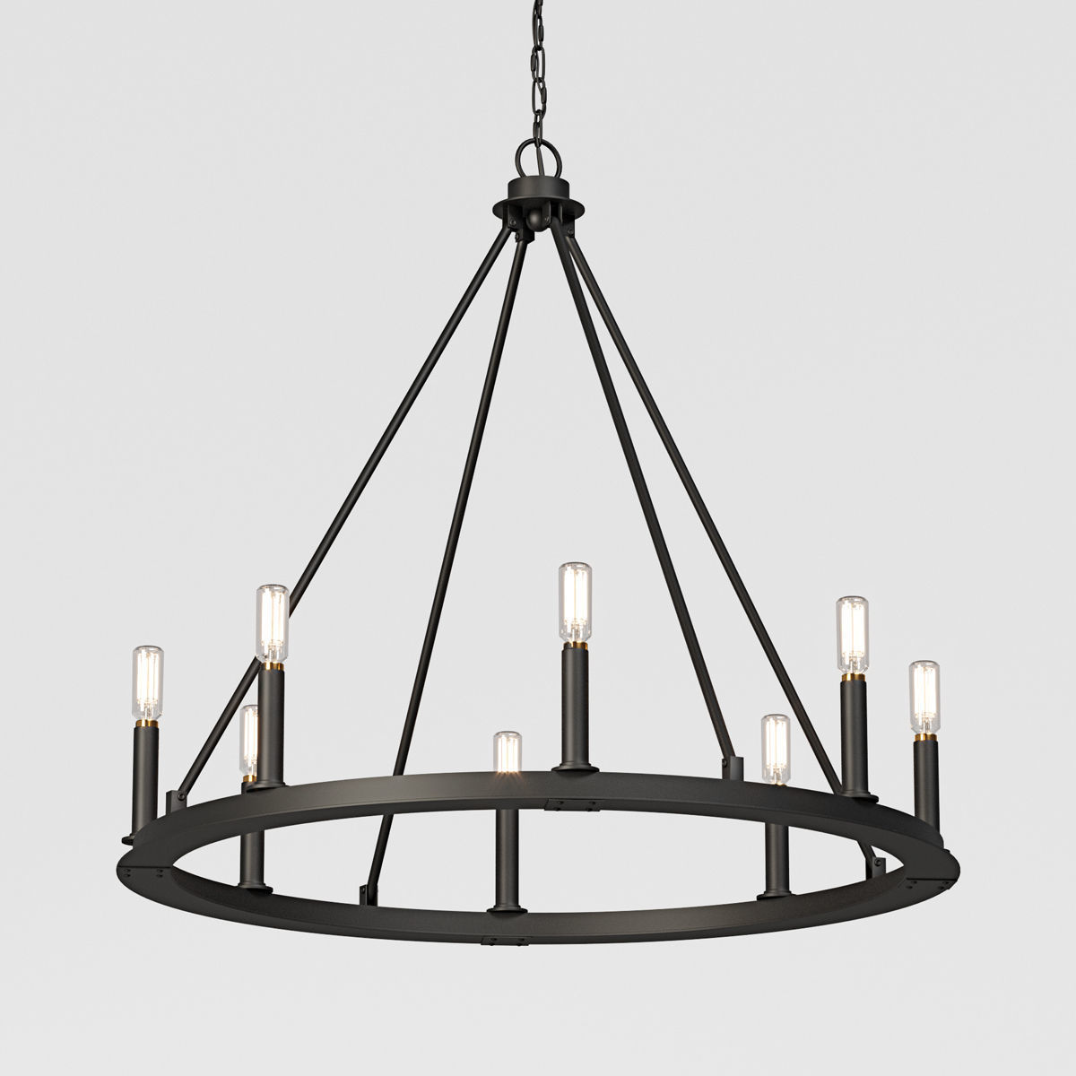 Minimalist Iron Ring Chandelier 8 Light