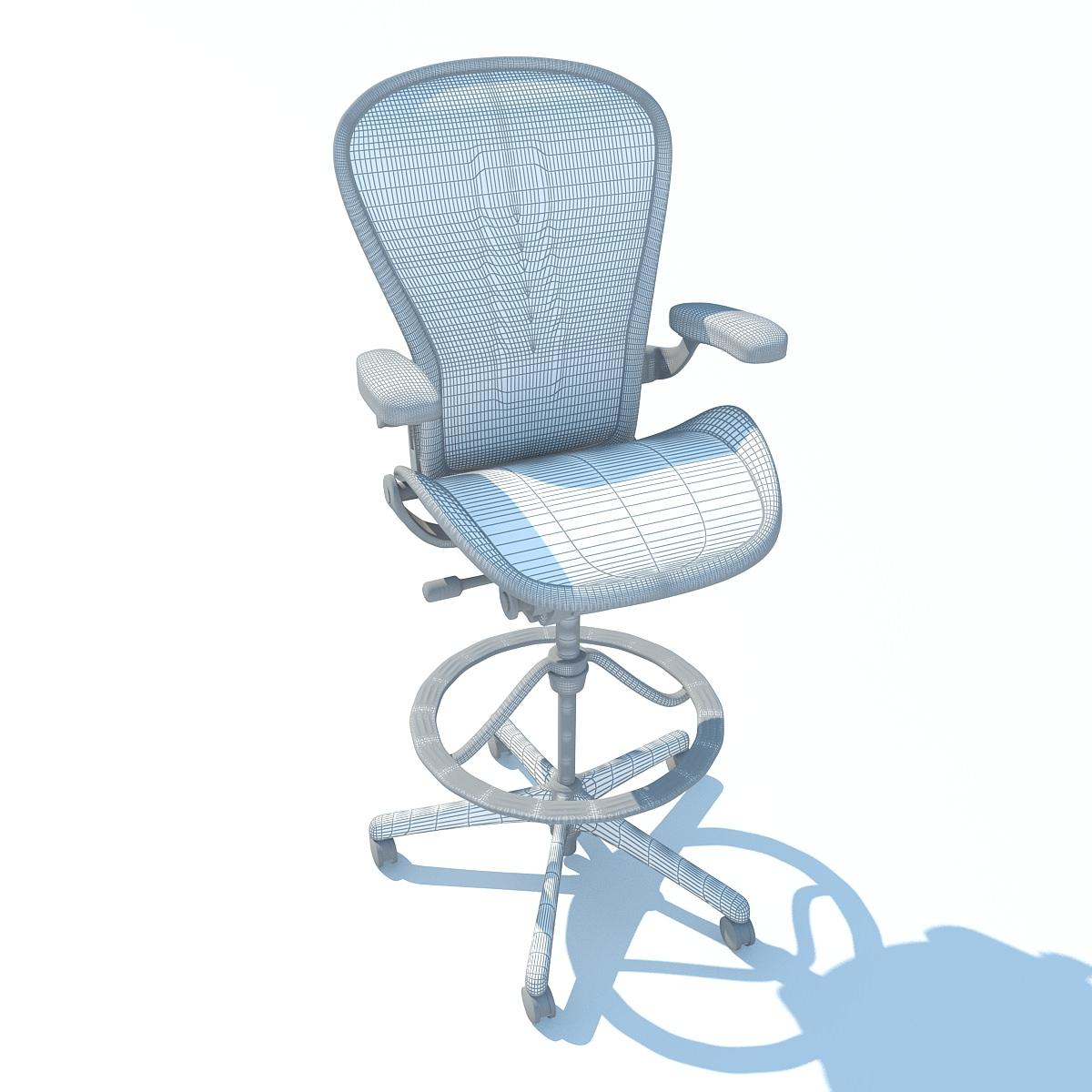 Aeron Work Stool Chair Herman Miller 3D Model Max Obj 3ds Fbx C4d Ma M