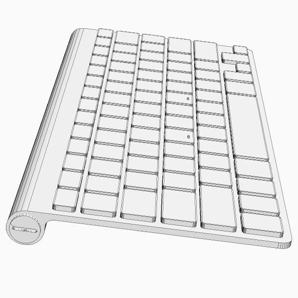 apple wireless keyboard 3d model max 3ds fbx
