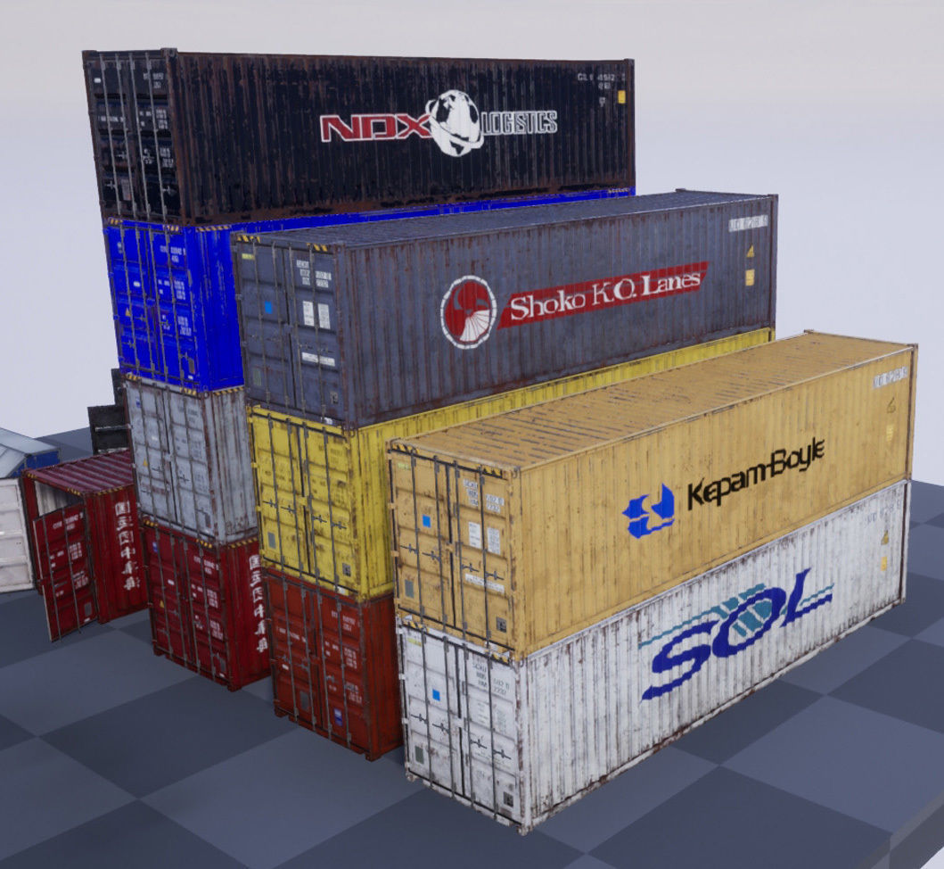 Shipping Containers with various skins