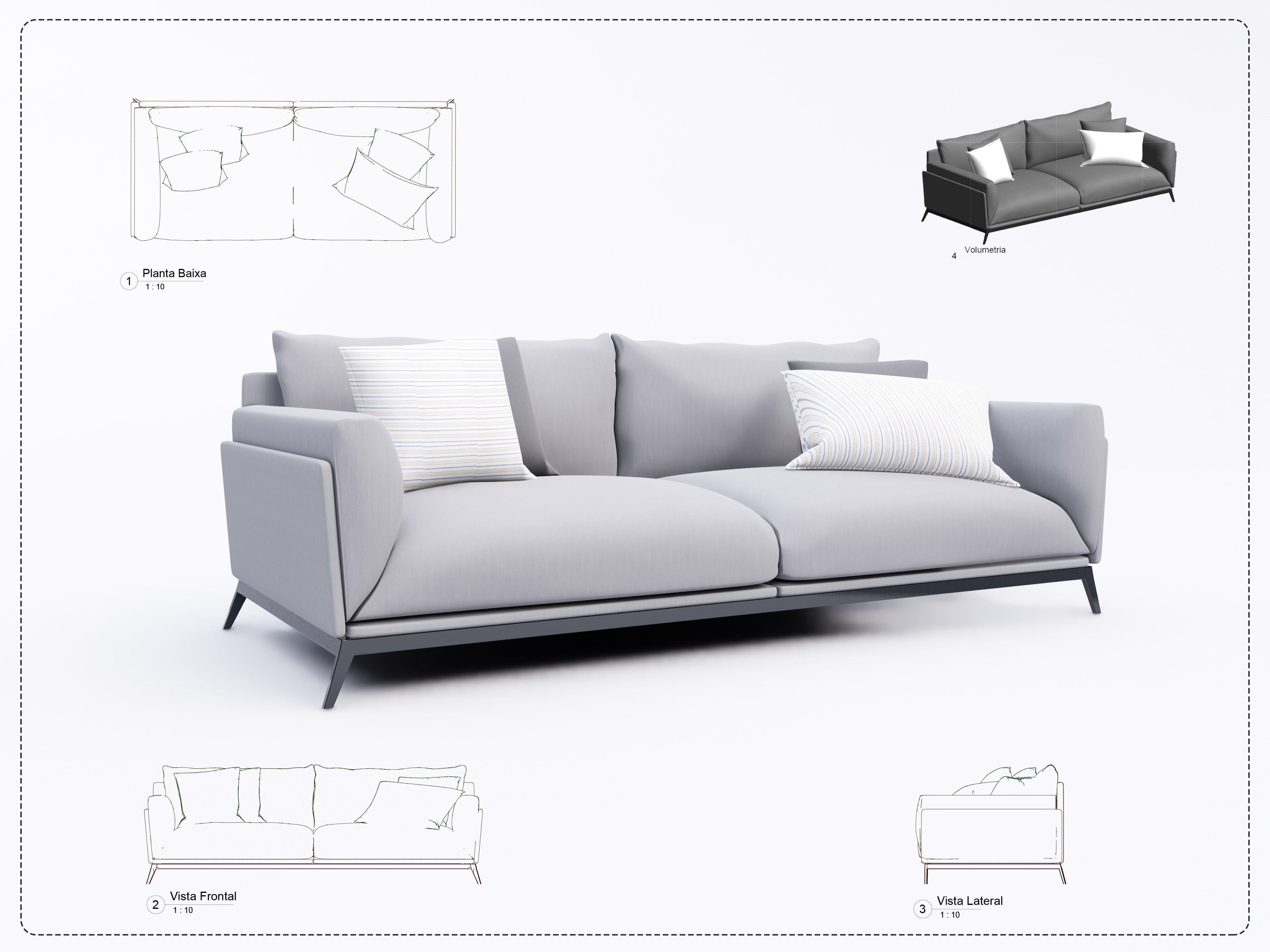 sofa revit high quality  3d models modern  cgtrader
