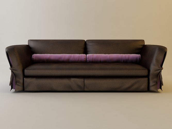 Leather Brown Sofa3D model