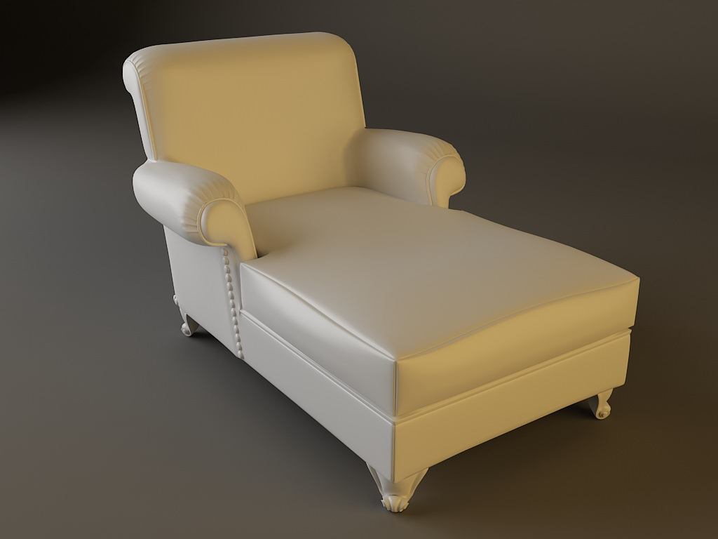 White leather chaise chair 3d model max obj 3ds fbx for Chaise modele
