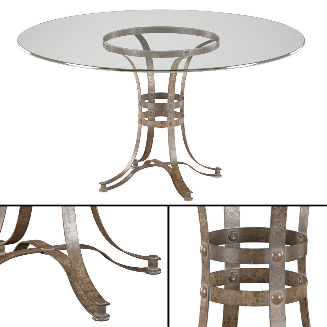 tempe round metal dining table 3d model max. Black Bedroom Furniture Sets. Home Design Ideas