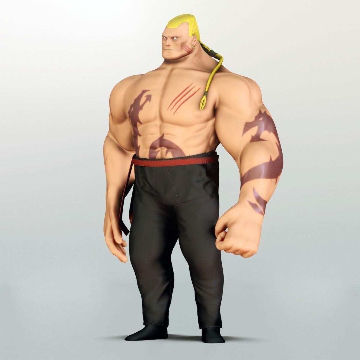 Fighter - Game Character 3D Model Rigged