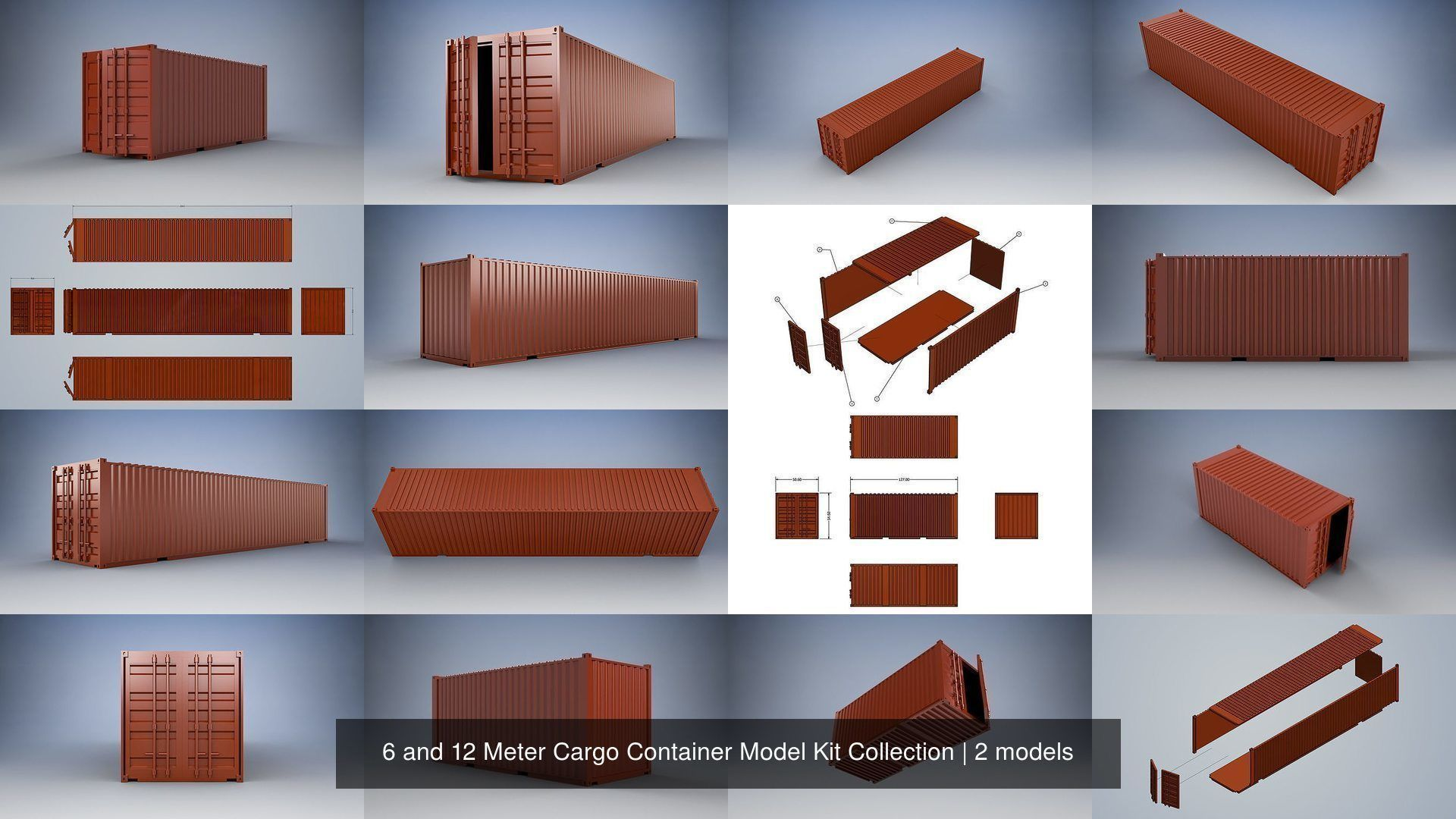 6 and 12 Meter Shipping Container Model Kit Collection