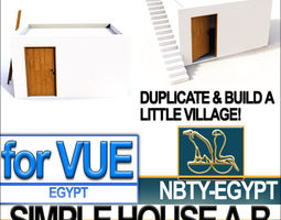 3d ancient egyptian simple house a and b