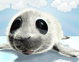 cartoon baby seal rigged 3d model rigged max obj 3ds fbx