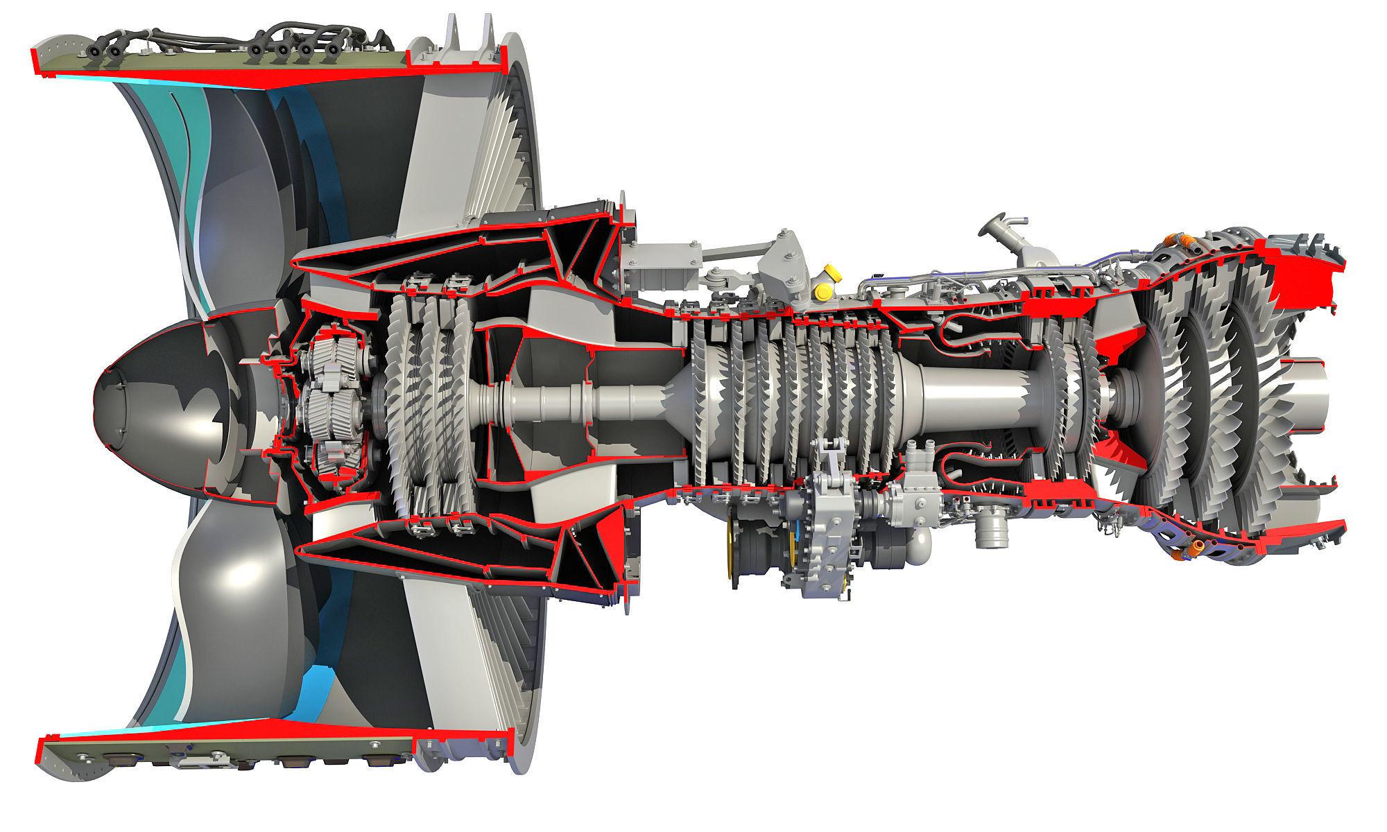 GTF Cutaway Turbofan Engine