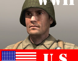 American Soldier and Thompson 3D Model