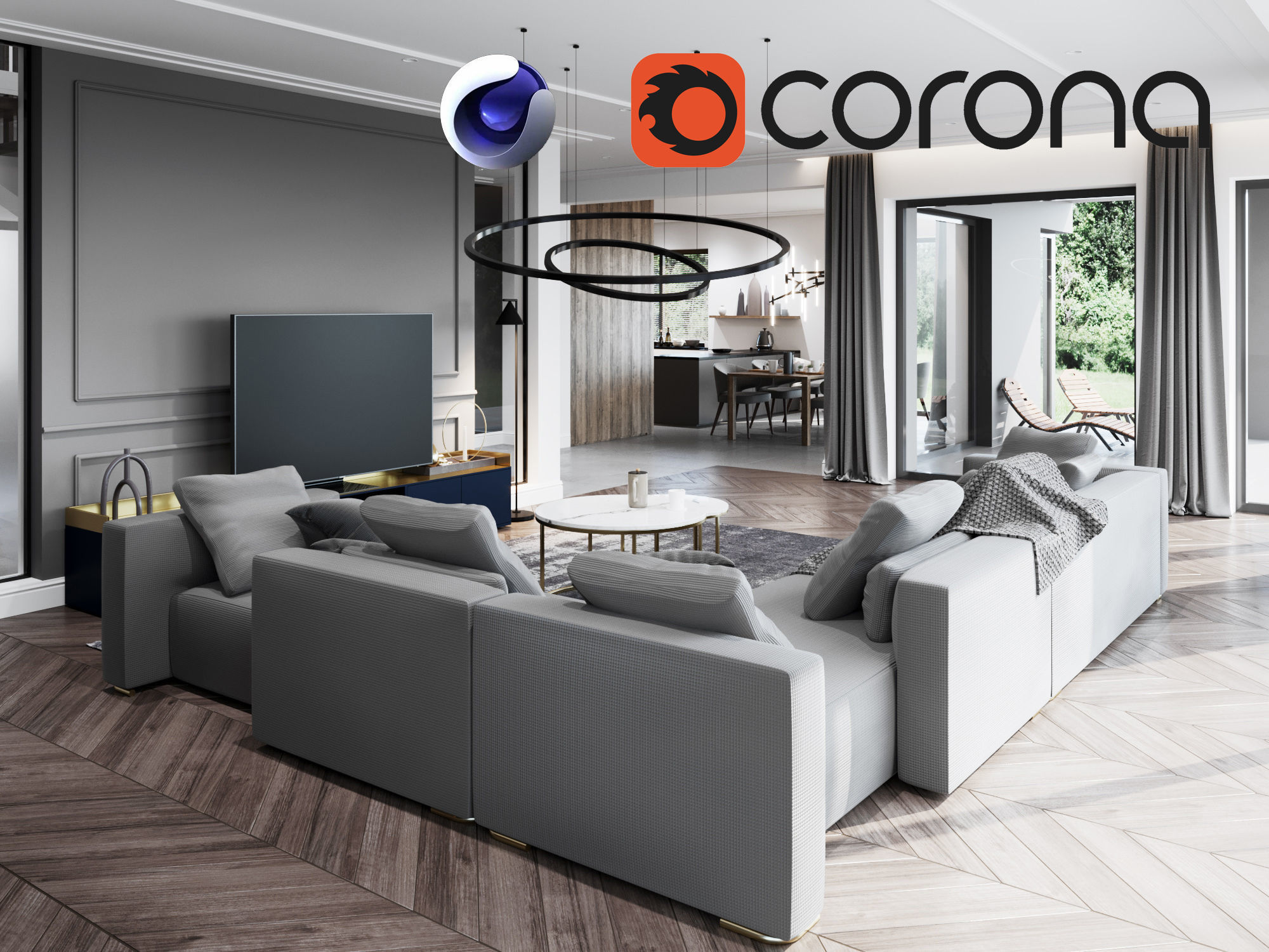 Living Room and Kitchen Scene for Cinema 4D and Corona Renderer