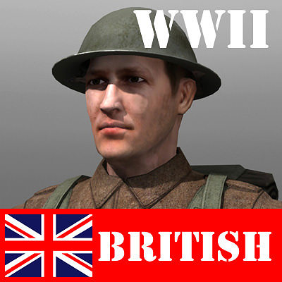 british soldier and lee enfield 3d model low-poly max fbx ma mb 1