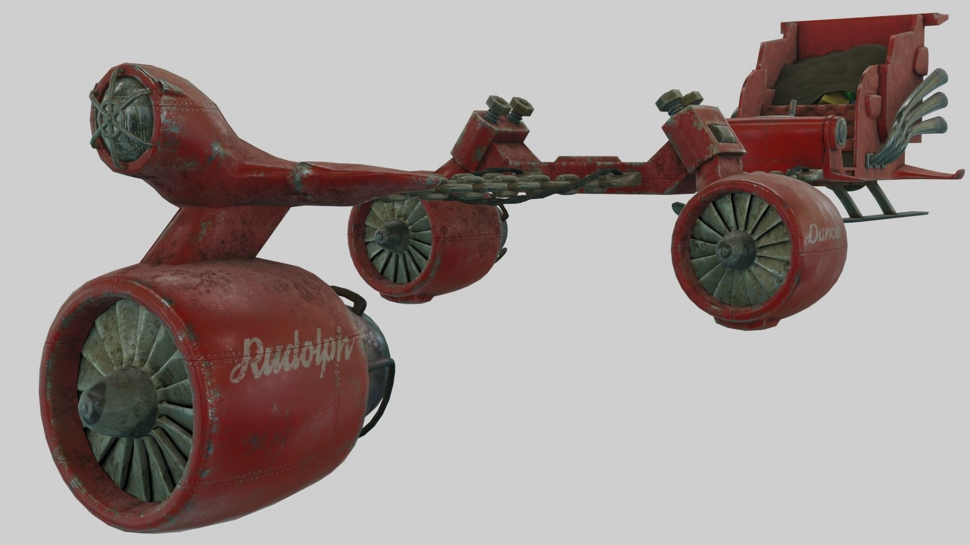 Low Poly Dieselpunk Santa Sleigh With PBR Materials