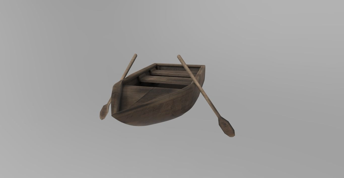 Old rowing wooden boat PBR