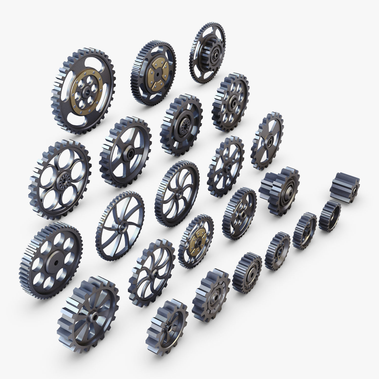 Gears Set Low Poly v 1