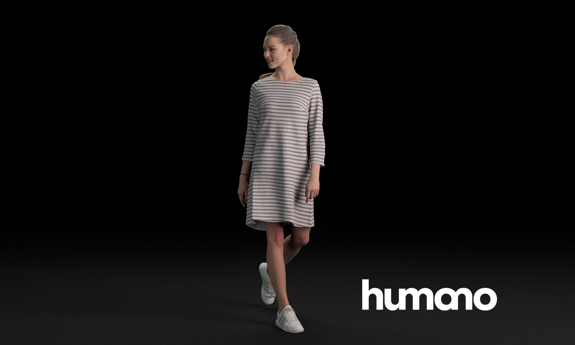 Humano Casual woman walking and looking back 0409