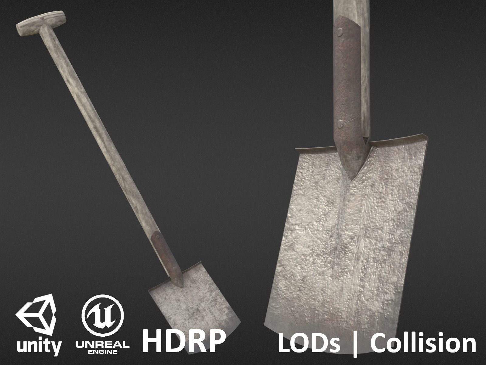Game-ready Old Shovel - Unity - HDRP - UE4